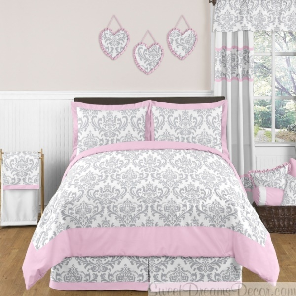 Grey Pink And Blush Comforters For 12 Year Old Girls: Beautiful Damask Pattern In