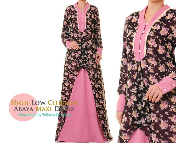 Summer Pink Floral High Low Chiffon Silk Long Sleeved Abaya Maxi Dress-  Size S/M 6096 FREE SHIPPING! by Tailored2Modesty on Etsy