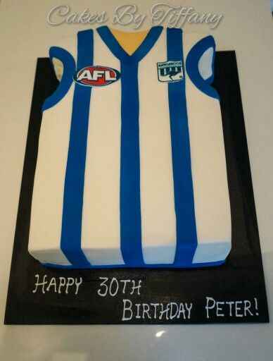 Paul's 30th Birthday cake from last weekend :) a chocolate mud North Melbourne football Jersey. Happy Birthday Paul! #northmelbourne #footy #footycakes #cakesformen
