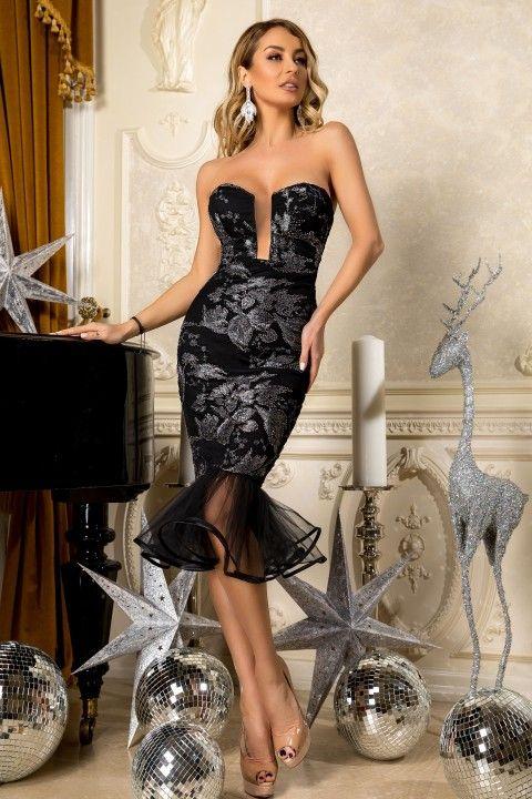 ee6fe3367dcb Abito a tubino elegante di colore nero con paillettes color argento ...