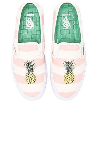 Vans Slip On SF Sneaker in Pale Pink & Pineapple | REVOLVE How adobrable are these shoes!! Love the pineapples and the fact that they are slip ons make them perfect for the beach! {affiliate link}