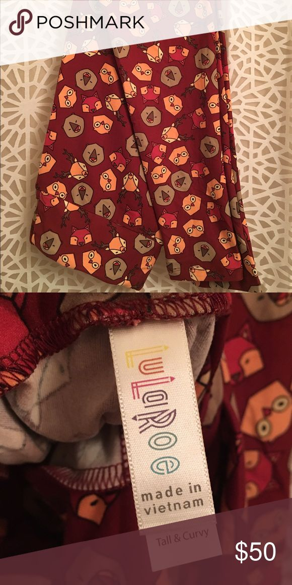 Lularoe TC woodland creature leggings NWOT Super cute woodland creature leggings with a burgundy background. I am NOT a Lularoe consultant but I went on a Lularoe buying binge and have to get rid of some things I got that I didn't like as much in person. Not part of the holiday collection but they are kind of festive! There are deer, owls, foxes, and bears. Please make an offer using the offer button!! This is a HTF pattern. LuLaRoe Pants Leggings