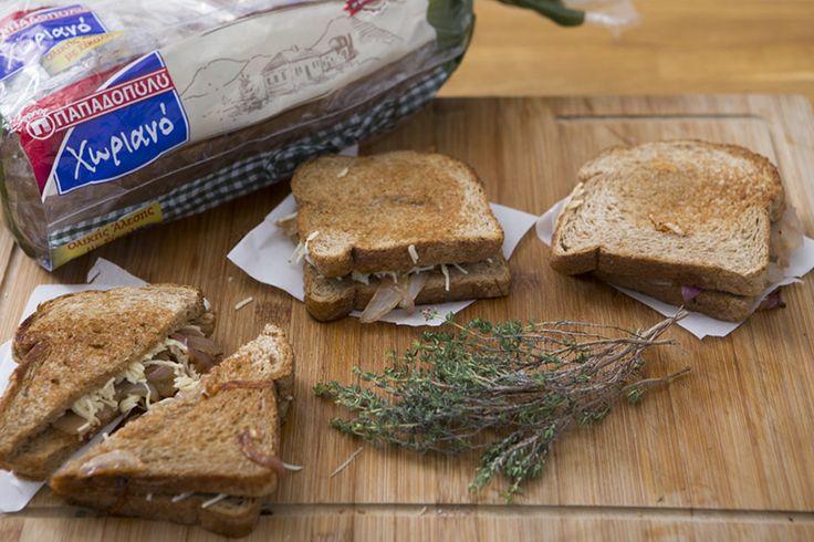 "Grilled cheese με Ψωμί σε Φέτες ""Χωριανό"" ΠΑΠΑΔΟΠΟΥΛΟΥ Ολικής Άλεσης με Σίκαλη"