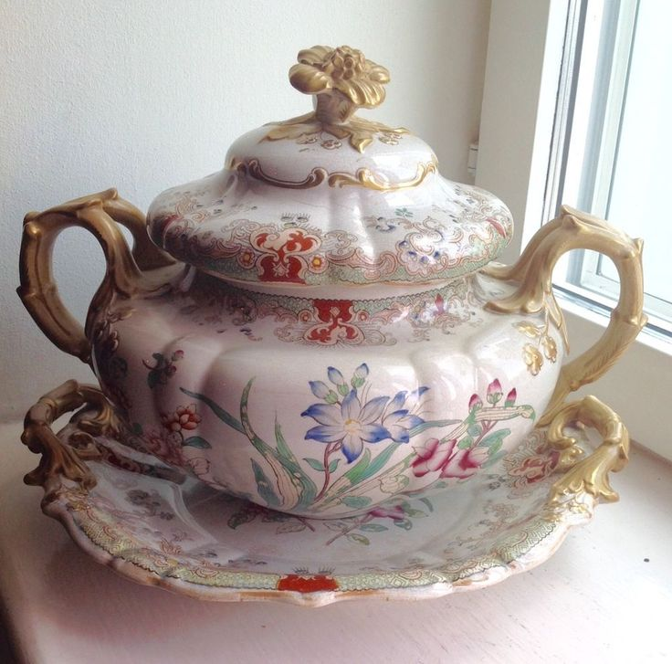 LARGE ANTIQUE ROCOCO REGENCY TUREEN AND PLATTER - ORNATE FLORAL & GOLD DESIGN #Victorian #Tureens