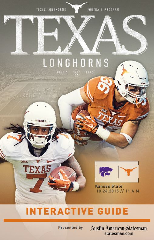 #HookEm Horns! Gear up for gameday with the @texassports vs. Kansas State official Texas Longhorns football digital guide, October 24, 2015.