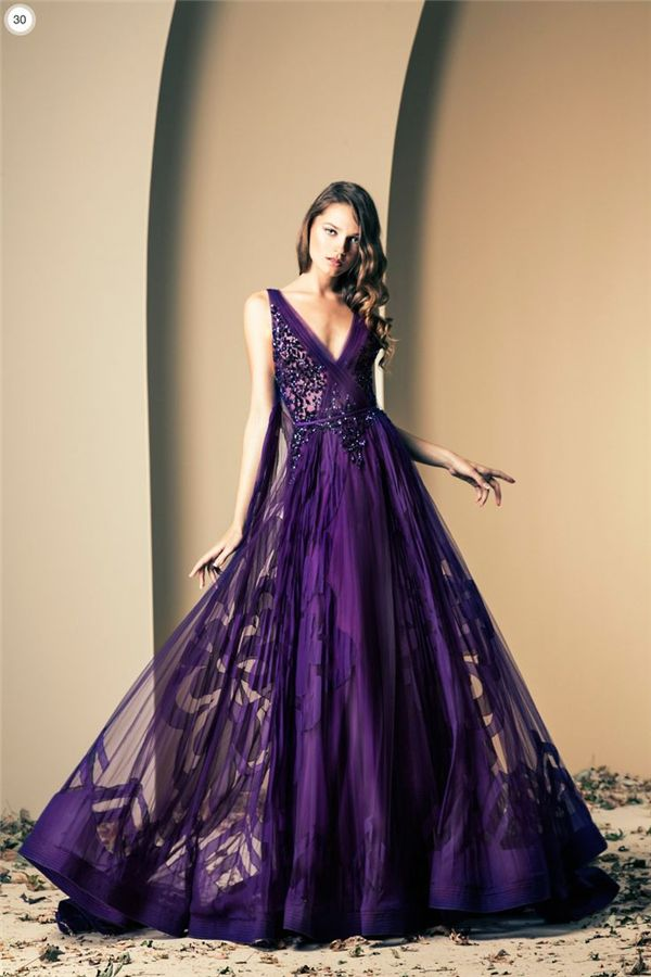 Designer Ziad Nakad  35 Dark Purple Wedding Color Ideas for Fall/Winter Weddings | http://www.deerpearlflowers.com/35-dark-purple-wedding-color-ideas-for-fallwinter-weddings/