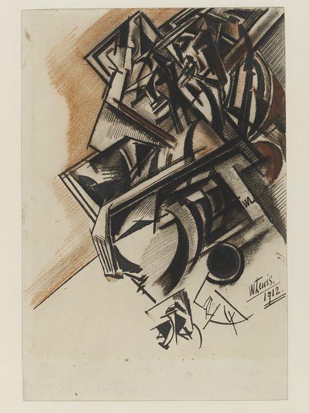The Courtesan (1912) by Wyndham Lewis, ink & pastel http://collections.vam.ac.uk/item/O185916/the-courtesan-drawing-lewis-wyndham/