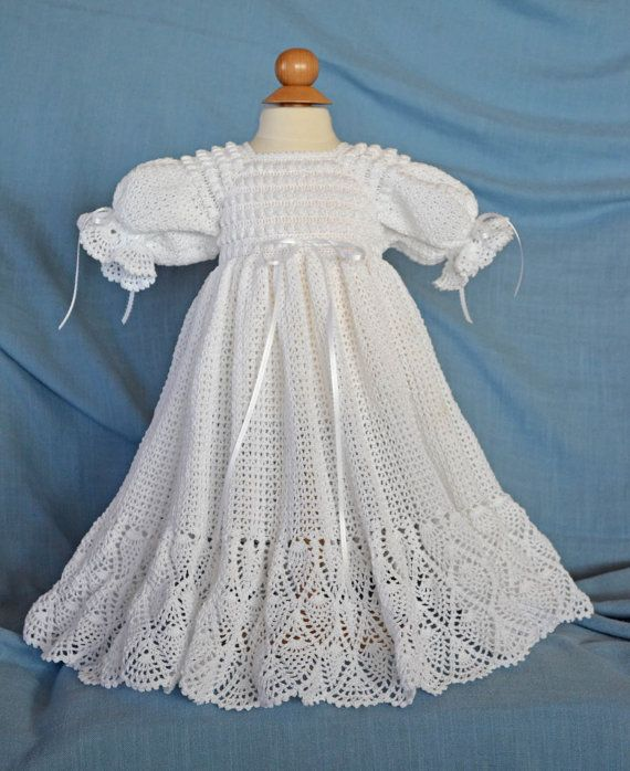 White Christening / Blessing Gown Baby by CherryHillCrochet