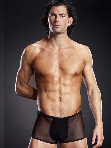 Deze onthullende boxershort van gaas heeft een uniek design. Dankzij het stretch materiaal zorgt de boxershort voor een comfortabele fit. Aan de voorkant heeft het een ondoorzichtig stukje stof zitten.  #boxershort #mannen #heren #ondergoed #sexy #stoer