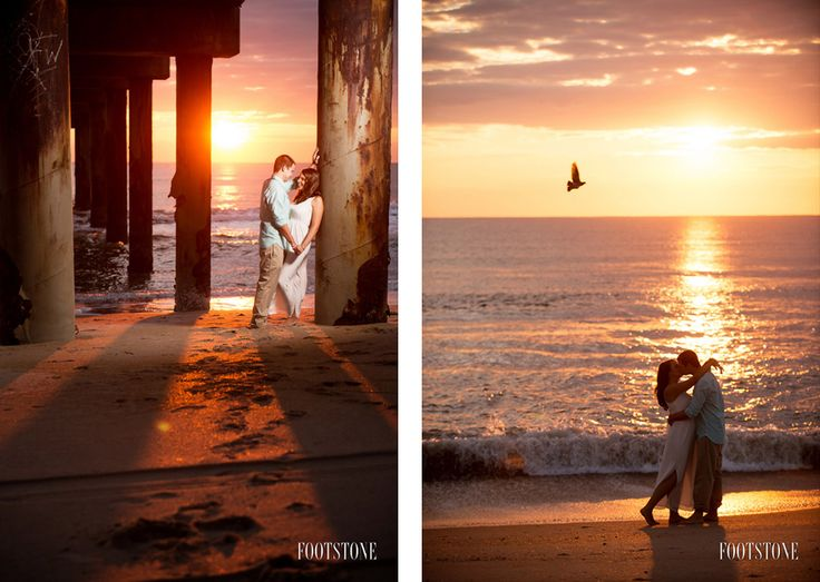 St. Augustine Beach Florida - Sunrise Engagement Session on the beach - by Footstone Photography www.footstonephotography.com