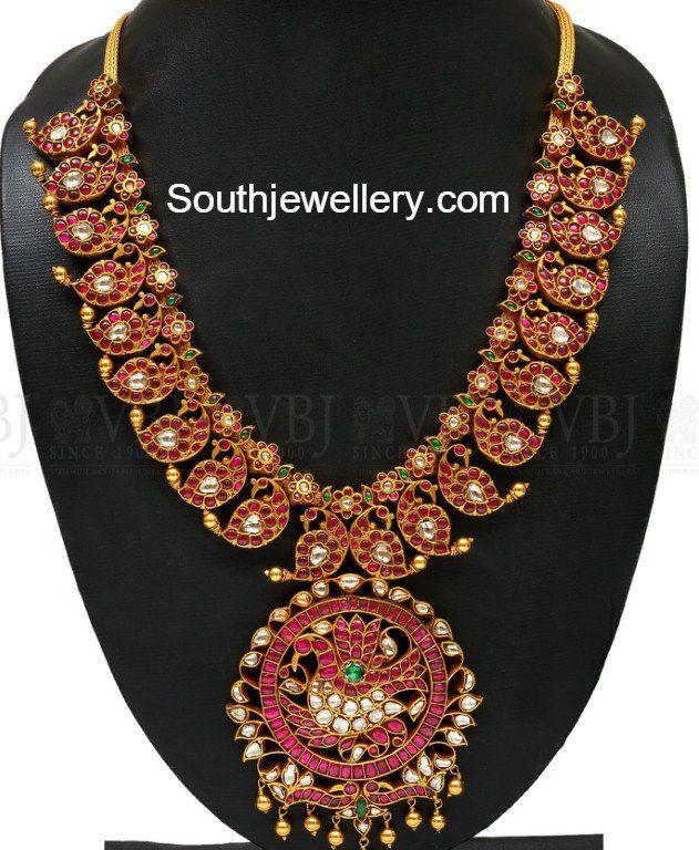 Kundan Peacock Mango Mala, 2017 mango mala designs, Mango haram models, 22k gold necklace models