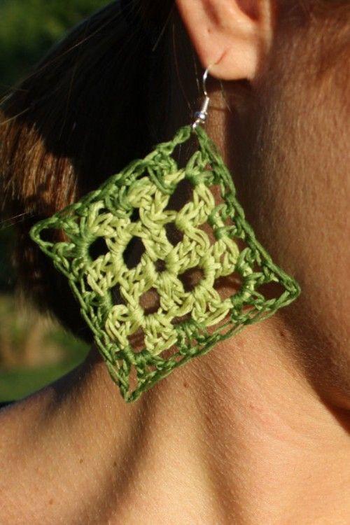 green two-tone large-size #crochet earrings sold on Etsy by byPeaceJoyYarn