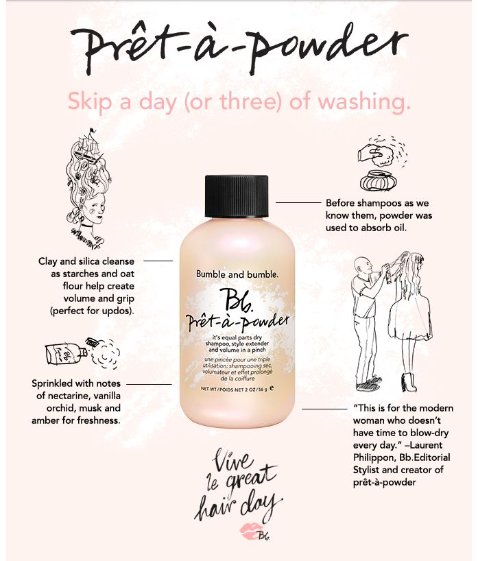 Meet the many benefits of @Bumble and bumble. Prêt-à-powder. #DryShampoo #StyleExtender #Volume #Hair #Sephora
