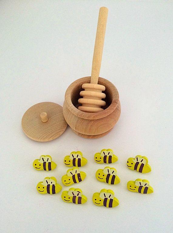 Vaso di legno miele Merlo acquaiolo & Bees di PlayIsTheWay su Etsy
