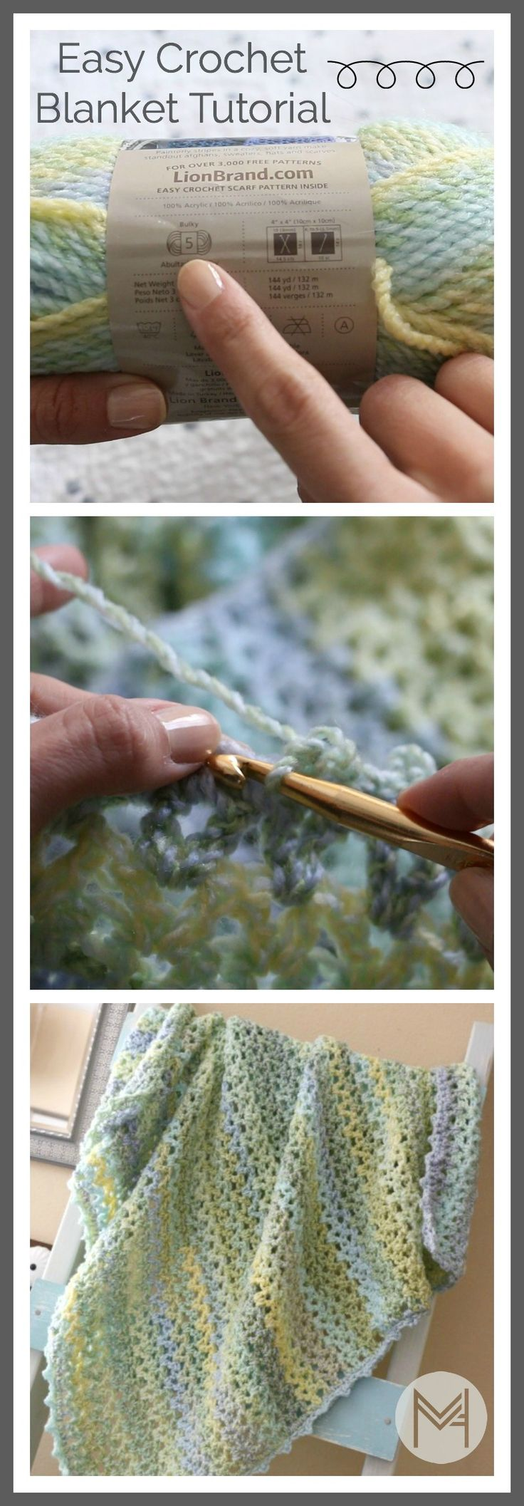 Easy crochet blanket tutorial. Learn to read a pattern and add a border with step by step instructions.