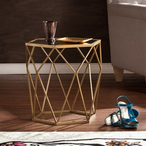 Features:  Geometric / Glam Style.  Hollow Table For Peek A