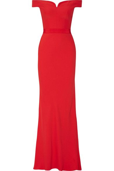 Red crepe Concealed hook and zip fastening at back 52% viscose, 48% acetate; lining: 100% silk Dry clean Made in Italy