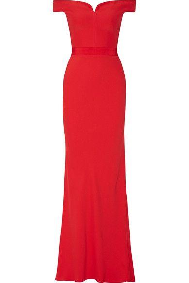 Alexander McQueen - Off-the-shoulder Crepe Gown - Red - IT