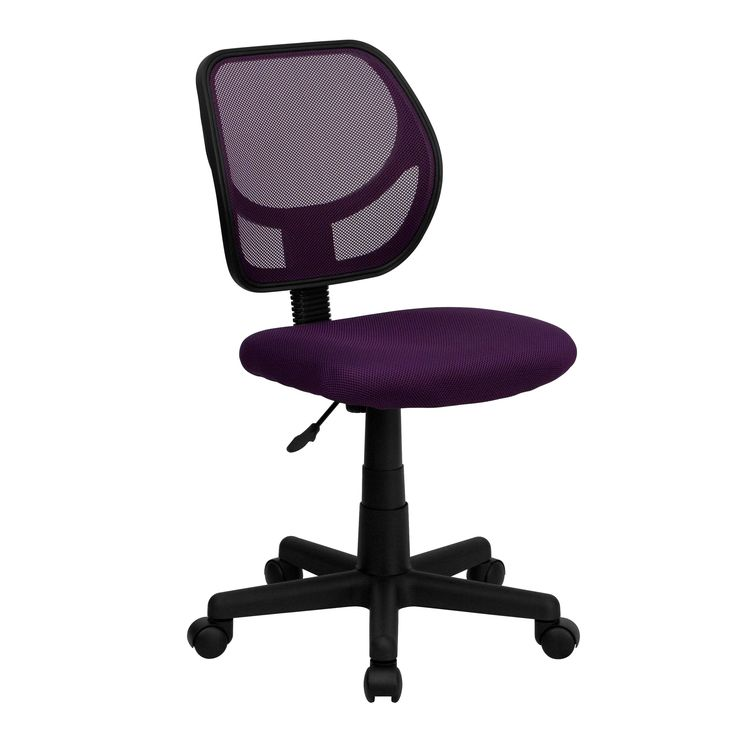 Ventilated Armless Swivel Office Chair With Pneumatic Seat Height Adjustment