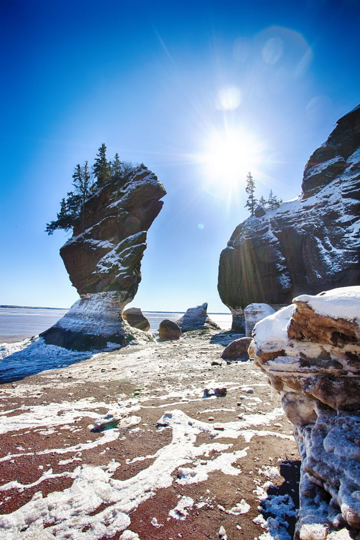 A dusting of snow on The Hopewell Rocks in the Bay of Fundy, New Brunswick Canada