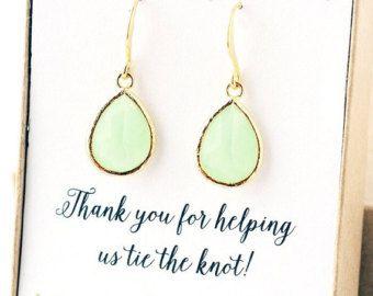 Twee voor één licht groene bruidsmeisje sieraden bruiloften bruidsmeisje oorbellen bruidsmeisje Gift-bruids Earrings Jewelry huwelijksjuwelen