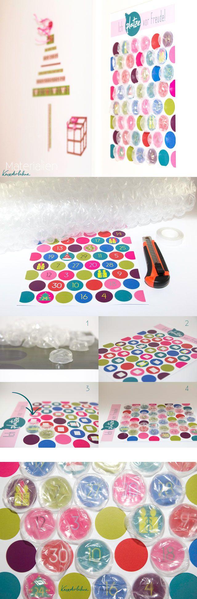 Adventskalender zum Platzen +++ Repin awesome bubble wrap avdvent calendar
