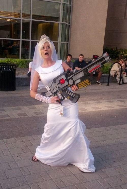 Wreck-It Ralph Sgt Calhoun cosplay - her actual wedding dress