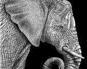 Disegno di inchiostro grande gufo cornuto di TimJeffsArt su Etsy
