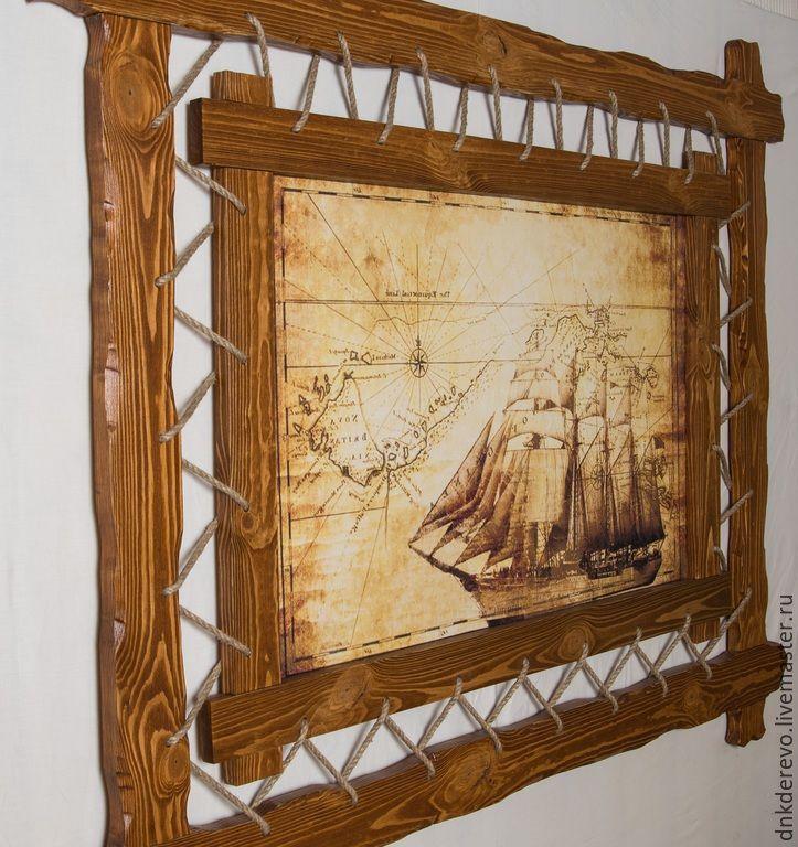 Купить Картина в раме из дерева - состаренная сосна, деревянная рамка, картина, картина для интерьера