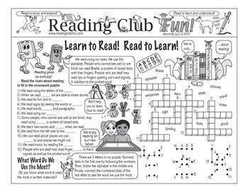 LEARN TO READ! READ TO LEARN! - Enjoy a reading-themed Two-Page Activity Set, Matching Puzzle, Word Search Puzzle, and Reading Log and Certificate Set with this discounted bundle! Includes the following products:     • Learn to Read! Read to Learn! Two-Page Activity Set  • Expressions About Reading and Books Word Search Puzzle   • Learn to Read! Read to Learn! Reading Log and Certificate Set