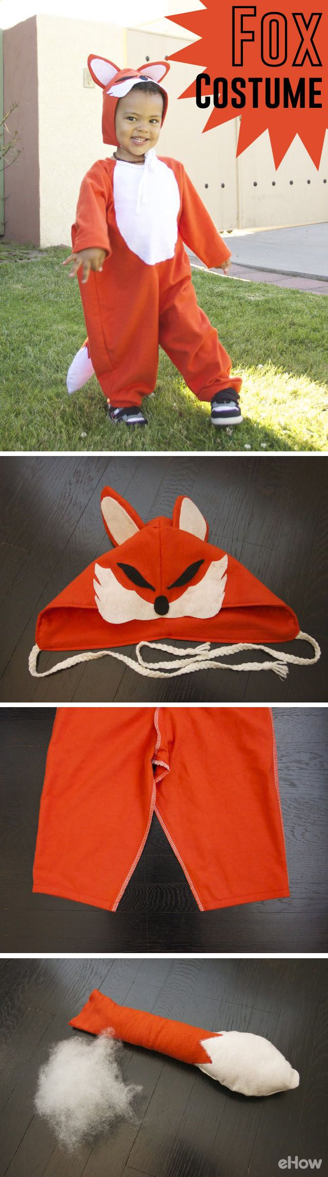 Free printable pattern included!! You can easily make his fox costume yourself this year for Halloween and have the cutest little fox on the block!  Get the free printable pattern and the full how-to here: http://www.ehow.com/how_4882211_make-fox-costume.html?utm_source=pinterest.com&utm_medium=referral&utm_content=freestyle&utm_campaign=fanpage