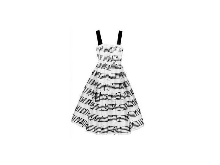 Letní bílé šaty s notami - HUDEBNIKUM.CZ