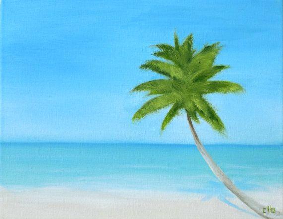 Palm Tree schilderen, 14 x 11, olieverfschilderij, originele kunst, Oceaan kunst, strand schilderij, landschap schilderij, Caribische schilderij, strand huis Art