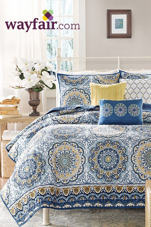 This beautiful coverlet set has flowery pattern that adds to the room's overall looks. It is functional and is best for all decors. Visit Wayfair and sign up today to get access to exclusive deals everyday up to 70% off. Free shipping on all orders over $49.