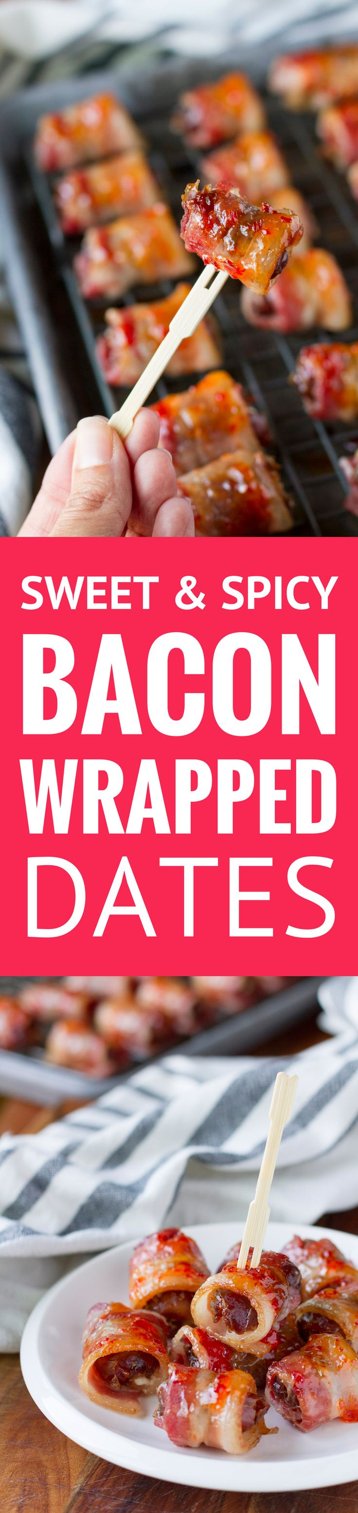 Sweet & Spicy Bacon Wrapped Dates with Goat Cheese -- This bacon wrapped dates recipe will really knock your guests' socks off! They sound fancy, look fancy, even taste fancy, but they're seriously easy to make... Perfect for both upscale and low-key gatherings! | easy bacon wrapped dates | bacon wrapped dates stuffed | bacon wrapped dates with glaze | find the recipe on unsophisticook.com #christmas #christmasrecipes #appetizers #baconrecipes
