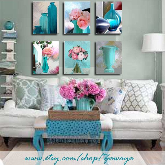 turquoise and pink Home decor ready to hang painting by