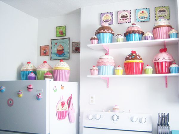 Cupcake Storage Jar Collection In A Cupcake Themed Kitchen A Cupcake Kitchen
