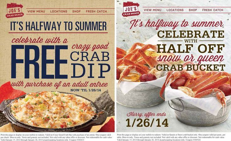 Pinned January 19th: Free crab dip with your entree or 50% off a bucket at #Joes Crab Shack #coupon via The Coupons App