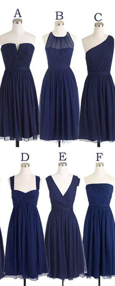 Short Bridesmaid Dress Navy Blue Chiffon Bridesmaid Dresses Mismatch Maid of Honor Dress Girls Group Dresses in Knee Length,Simple Cheap Prom Dresses