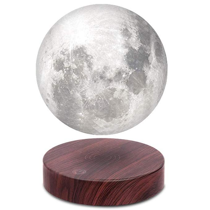 Vgazer Levitating Moon Lamp Floating And Spinning In Air Freely With Luxury Faux Wooden Base And 3d Printing Led Moon Light Night Light Levitation Lamp Decor