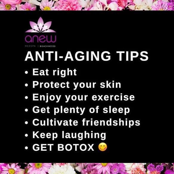 The secret to a youthful appearance. We have lots of ways to keep you young. Get Anew You today! #ANEWmedspa #anewyou #anewyou2017 #ANEW #anewbeginning #anewbeachwood #botox #fillers #juvederm #restylane #silkpeel #dermalinfusion #skincare #medspa #hairremoval #underarmsweating #coolsculpting #fatreduction #bodycontouring #freezethefat #freezefat http://ift.tt/2jN69Rv