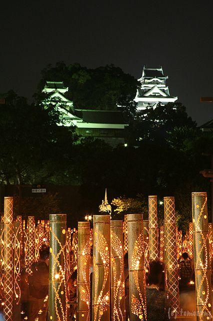 Bamboo Lantern Festival at Kumamoto castle, Japan