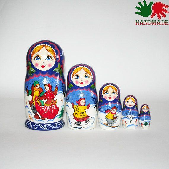 matryoshka nesting doll for kids wooden toy hand painted custom nesting dolls Girl with animals Nesting dolls girl with kitten cat