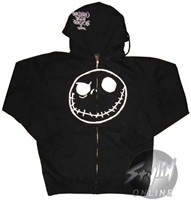 """Nightmare Before Christmas Hooded Zipper Sweatshirt. Nightmare Before Christmas Zipper Hoodies An evil-looking white outline of Jack Skellington highlights this Nightmare Before Christmas hoodie inspired by the movie The Nightmare Before Christmas. The Nightmare Before Christmas Zipper Hoodie is a black pullover and features the words """"Tim Burton's The Nightmare Before Christmas"""" in white letters on the hood. Wear it out on the next chilly night, especially if that night is Halloween…"""