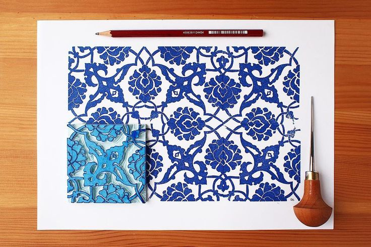 Traditional Turkish tile pattern with handcarved rubber stamp by Paprika Paper Goods