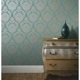 Arthouse Vintage Astoria Wallpaper   Aqua   This Dramatic Damask Design  With Metallic Detailing Brings A Classic Glamorous Feel To Any Room Part 9
