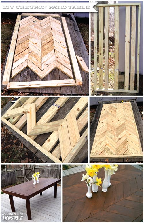 DIY Chevron Patio Table, easy dining table, full do it yourself instructions. I would do this but do a dark and light stain and contrast each plank.