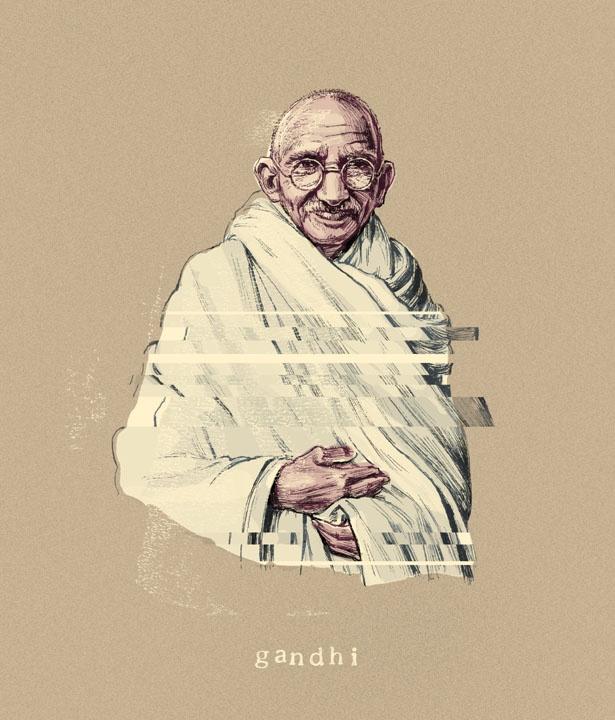 Gandhi — Tim Tomkinson Illustration