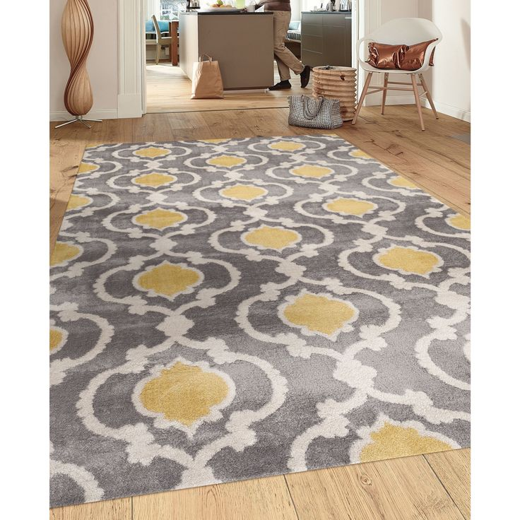 "Moroccan Trellis Contemporary Gray Yellow 3 ft. 3 in. x 5 ft. Indoor Area Rug (310 Gray Y. 3'3""X5'), Grey, Size 3'3"" x 5' (Plastic, Geometric)"