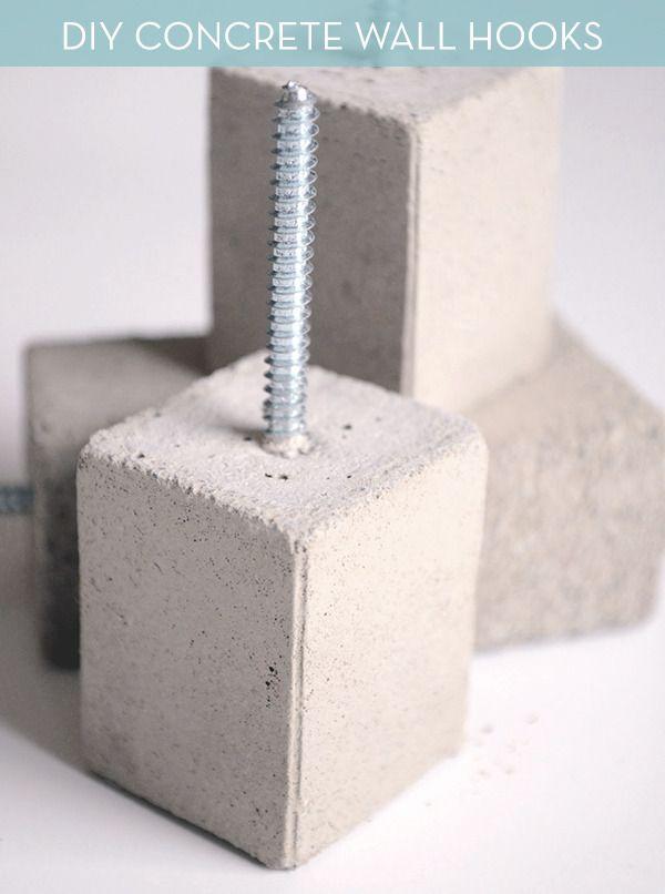 Modern DIY Concrete Wall Hooks